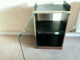 storage unit with glass door for vinyl player and vinyls