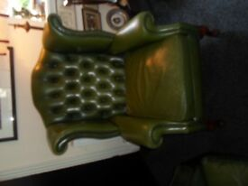 vintage green leather, chesterfield wingback chair with queen anne legs