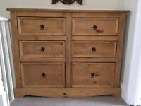 CORONA MEXICAN DISTRESSED WAXED PINE 2+2 CHEST OF DRAWERS from a pet-free / smoke-free house.