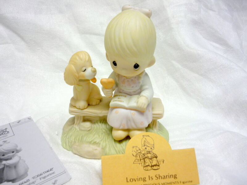 MINT LOVING IS SHARING PRECIOUS MOMENTS GIRL FIGURINE PUPPY ICE CREAM e-3110/G