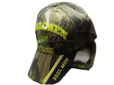 (Reel Men Fish Fishing Camouflage Camo Black on Bill Embroidered Cap Hat 932)