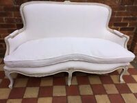 Victorian French Style 2 seater Sofa in French Vintage Linen Fabric