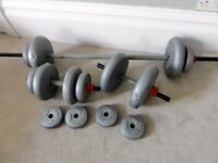 Gym weights set: Dumbbells, barbell and weight plates