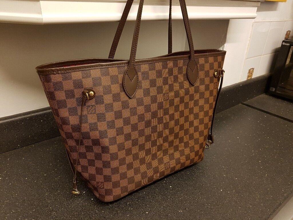81005457b91 Lv louis vuitton neverfull tote handbag * genuine * cherry interior damier  camvas MM Not pm gm