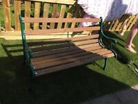 Bench cast iron painted green sides hardly used