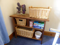 Wooden Unit with Wicker Baskets