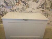White wooden storage chest ottoman