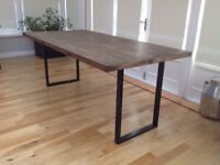 Dining Table Industrial Style Scaffold Boards Metal Legs