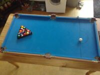 mini snooker table 4ft by 2ft.