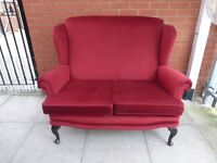 A Red Fabric Queen Ann High Two Seater Sofa Settee