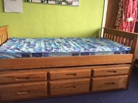Pine Captain Bed with Trundle and Storage Drawers ( guest / twin bed )