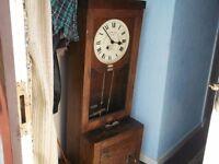 old factory time clock in oak