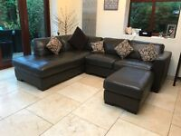 Chocolate brown leather corner sofa with footstool. Very good condition