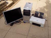 """Dell desktop, printer 725 and 21"""" monitor"""
