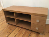Stylish Wooden TV Unit With Two Pullout Drawers And Four Shelves Good Condition