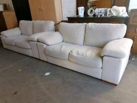Harveys cream fabric twin two seater sofa suite in excellent condition
