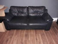 3 and 2 seater black sofas