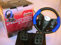 Sabre Universal Steering Wheel & Pedals PS One PS 2 Gamecube XBox VGC (WH_2401)