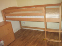 Aspace Solid Beech Mid Sleeper Raised Bed with Matching Chest of Drawers