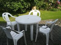 Plastic Table and 4 Chairs