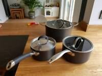 Set of 3 top quality hard anodized pans
