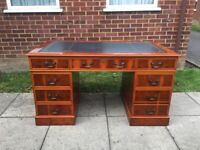 Lovely Chesterfield style Large Twin Pedestal Writing Desk with Blue Leather Top Inlay & Key