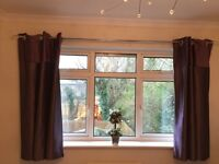 John Lewis purple silk effect lined curtains with silver curtain pole
