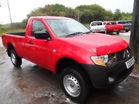 2010 MITSUBISHI L200 SINGLE CAB ONLY 37000 MILES , RED , NO VAT , SERVICED