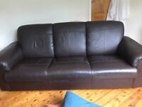 Brown leather 3 seater sofa - free if collect