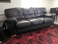 2x Black Leather Sofas - 3 seater + 2 seater set