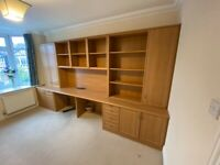 Office desks and storage + bookshelf