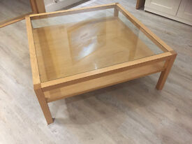 BARGAIN.... Glass and Oak modern coffee table by Habitat.. £295 new equivalent.