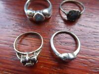Job lot bulk collection of old silver collectible rings