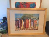 Two large framed prints