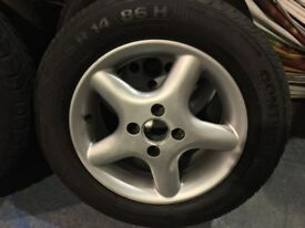 four alloy wheels and tyres