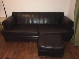 Vintage dark brown sofa 2.3m wide, 1.05m deep, 0.8m high