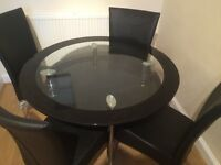 High quality glass round dining table with 4 x dining chairs