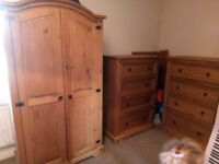 Wardrobe and 2 chest of drawers solid wood Cheap!