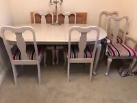 Hand painted 6 seater dinning tablet and chairs
