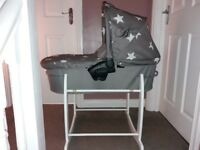 Baby Carrycot and White Rocking Stand