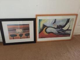 Modern large wood framed prints x 2