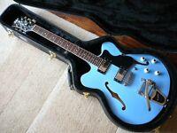 Hofner Contemporary Verithin Ltd Edition Powder Blue with Bigsby rockabilly electric guitar