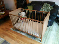 Ikea Child Baby Cot Bed & matress Antique Oak cost £178 hardly used for sale  Airdrie, North Lanarkshire