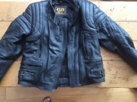 Ladies JTS leather motor cycle jacket, size medium, in excellent condition