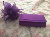 BNWT purple fascinator and matching handbag