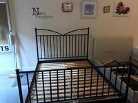 Black Matt Ikea king size solid bedframe (option of mattress extra)