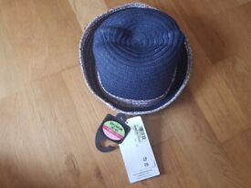 M&S Girls Navy straw hat 18-36 months