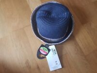 M&S Girls Navy straw hat 18-36 months