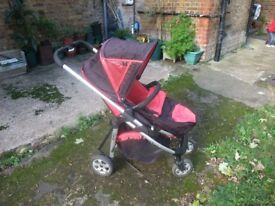 i-Candy Cherry Pushchair and Carrycot in Red and Black - Good Condition