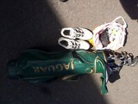 Golf Clubs, Bag, 20 x balls, shoes size 9 and glove.